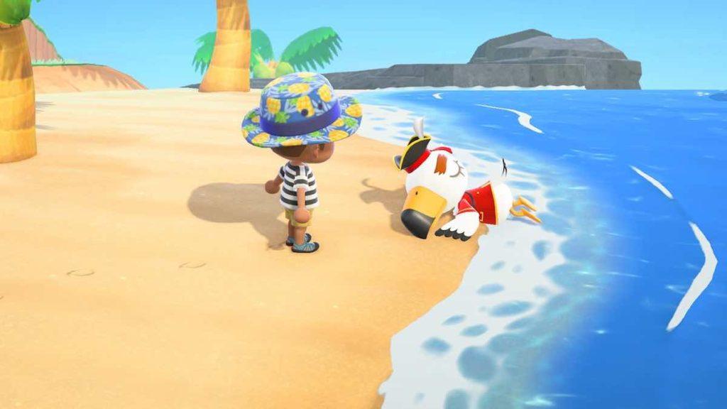 海に流れ着く海賊を見る村人(あつ森)