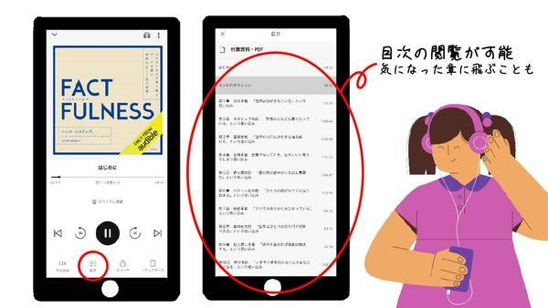 【オーディブルアプリ】目次の閲覧可能